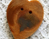 Wood Buttons  Heart Shapes Red Cedar Buttons  Handcrafted Cedar Branch Buttons