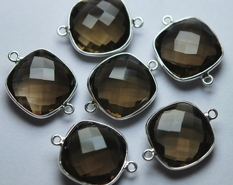 925 Sterling Silver Smoky Quartz Faceted Cushion Shape Pendant,5 Piece of 17mm