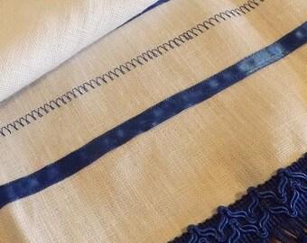 360 Blue Tassel 100% Linen Paleo, Pictograph & Modern Hebrew Embroidered Prayer Shawl