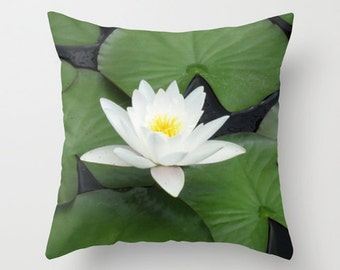 Water Lily Pillow, Lotus Flower Pillow, Green and White Summer Pillow, Floral Pillowcase, Zen Decor, Lily Pads, 16X16 Pillow Cover, 18X18