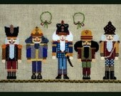 Christmas Cross Stitch Instant Download PDF Pattern Nutty Parade Counted Embroidery Design Whimsical Nutcracker Yule X Stitch DIY Home Decor