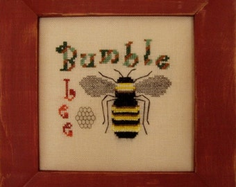 """Whimsical Cross Stitch Instant Download PDF Pattern """"Bumble Bee"""" Counted Embroidery Design X Stitch Spring Summer DIY Home Decor"""