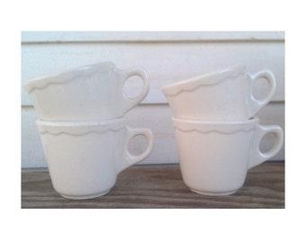 Vintage Buffalo China Cup/Mug -Set of 4- White Scalloped Edge