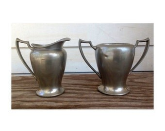 Vintage Pewter Sugar & Creamer Set -Paul Revere- No lid