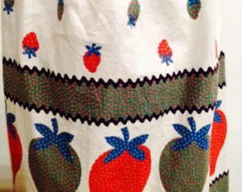 Vintage White, Red, Green, Strawberry patterned apron