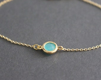 Mint Blue Gold framed crystal bracelet