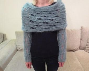 Mohair sea green eton blue long sleeves lace scarf sweater shrug wrap cowl top neckwarmer shoulderwarmer