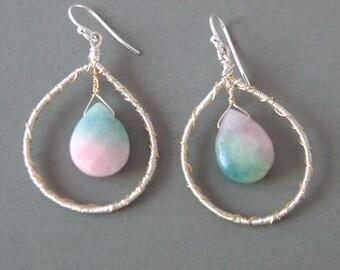 Large Hoop Earrings, Wire Wrapped Earrings, Gold and Silver Hoops, Sterling Silver Ear Wires, Pink Briolette Earrings, Shillyshallyjewelry,