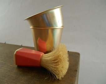 Vintage Soviet Shaving kit Soviet Shaving glass brush set Primitive Shaving Brush Gentlemans Grooming set USSR era Toiletry set Gift for him