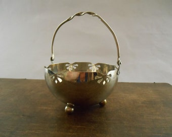 Vintage sugar bowl Steel sugar bowl with a handle Footed sugar bowl Metal sugar bowl