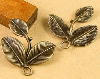 12pcs DIY Jewelry Accessories Antique Bronze leaves Charms Pendant
