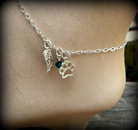 Sterling silver angel wing and animal paw anklet or bracelet,  Angel wing jewelry, birthstone crystal, memorial jewelry, sandal jewelry