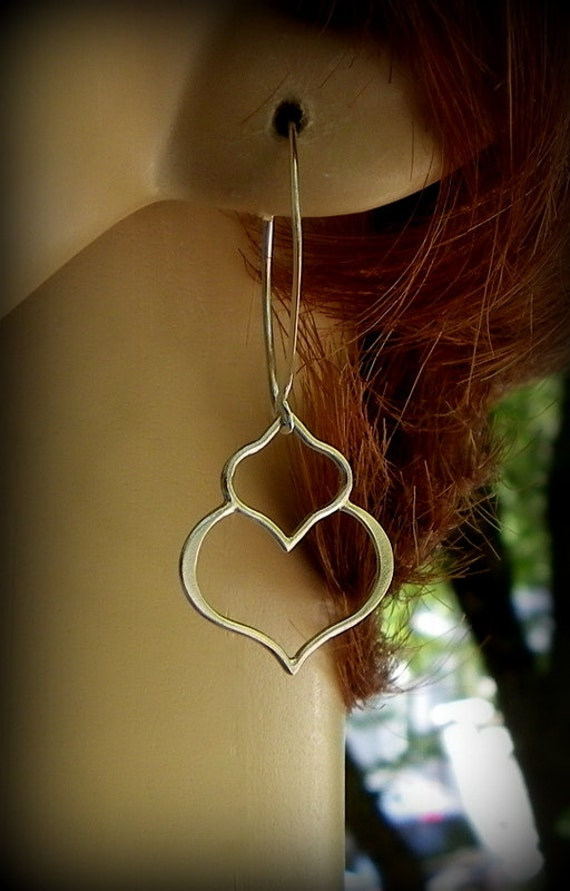 Sterling silver lotus petal earrings, yoga earrings, dangle earrings wedding earrings