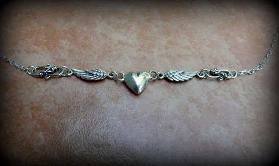 Sterling silver heart necklace, angel wing necklace,wedding necklace, anniversary gift, universal jewelry