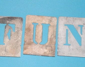 f u n metal letter stencils salvaged sign painters stencil tools 3 capital letters