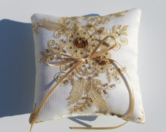 """Wedding Ring Pillow. Gold Sequin and Embroidered Lace Ring Bearer Pillow. 5""""x5"""" Gold & White Satin. Bridal Ring Pillow. Ring Bearer Cushion."""