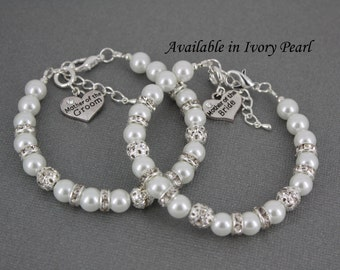 Mother of the Bride, Mother of the Groom, Pearl Bracelet, White Rhinestones Bracelet, Bridal Jewelry, White Pearl Bracelet