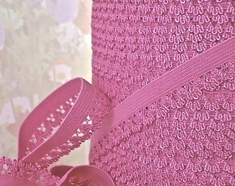 5yd Pink Elastic Stretch Lace Picot Trim 1/2 inch Skinny single side Scallop Headband Sewing lingerie Single side Edging Bra making supplies