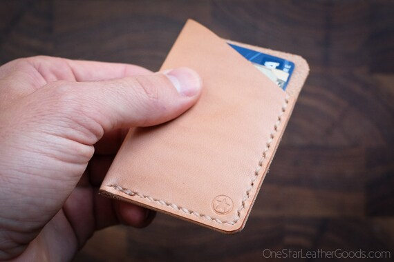 The Minimalist: micro card wallet, hand stitched leather - natural