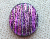 23x28mm Dichroic Glass Cabochons - Stripes of Magenta/Gold Color - TR364