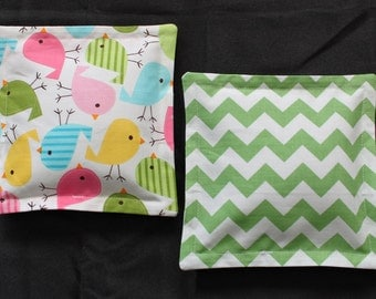 100% Flaxseed Boo Boo Pack Set ... Birds ... Chevron ... Pink ... Green ... Blue ... Unscented Washable Reusable Hot Cold Packs for Kids