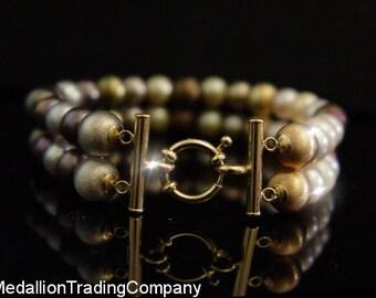 14k 7mm Pearl 8mm Gold Bead Grey White Mocha Two Strand Bracelet Senorita Clasp