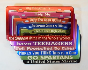 NEW!!  Custom Personalized Metal Professionally Engraved Auto License Plate Frame Cover Holder.  NOT vinyl letters!