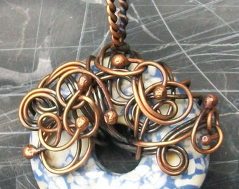 Copper Wire Wrapped Howlite Donut Pendant by Rebecca Weber