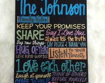 Custom Hand-Painted FAMILY RULES sign choose you own colors subway art wall hanging personalized family name