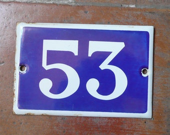 vintage French house number XXXX enamel blue and white