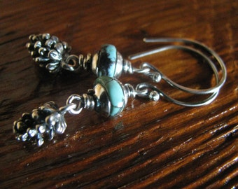 Turquoise & Sterling Silver Earrings, Silver Pinecones Handmade/Hand Forged  Dangle Earrings