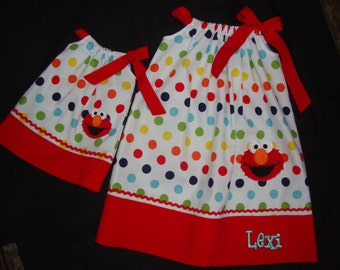 Girls Elmo Pillow Case Dress - Red Trim