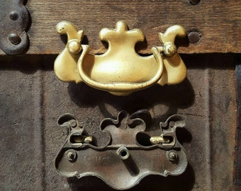 Vintage Brass Chippendale Style Drawer Pull (One left)