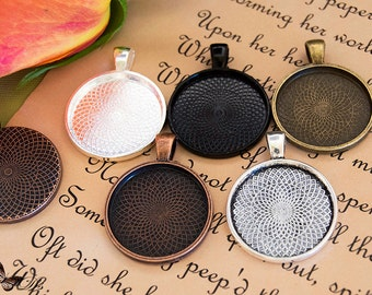 Pendant Tray - 10- Round Blank Pendant Trays- 1 inch 25mm Circle Pendant Blanks- 5 Colors to Choose From.