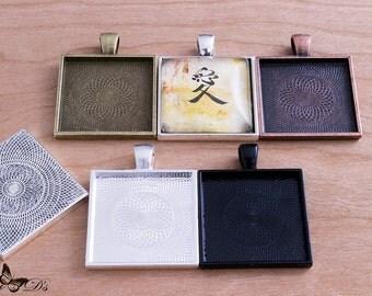 100- 1 inch Square Pendant Tray Setting Blanks - Mix & Match 5 colors - Bezel Cabochon Settings