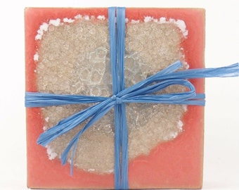 Geode Coasters with clay and fused glass (Coral)