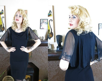 Vintage 1950s Mid Century Black Evening Dress- Crepe Wiggle Dress with Sheer Capelet Sleeves- Old Hollywood Glam- S/M