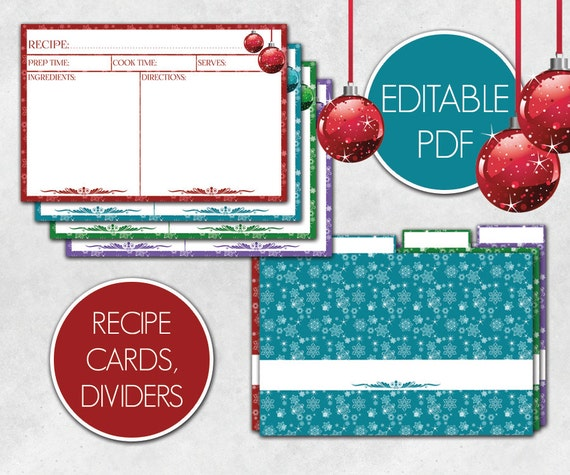 christmas recipe cards editable recipe cards divider editable