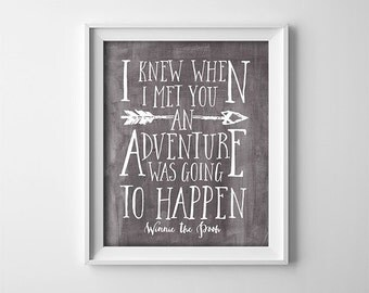 Nursery Art - Winnie The Pooh Quote - Dark Grey and White - I knew when I met you - Adventure Quote - Instant Digital Download -  SKU:404