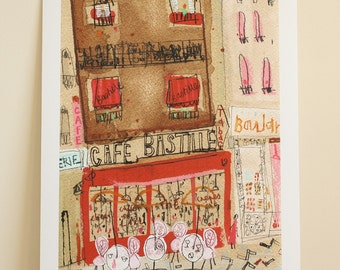 CAFE BASTILLE PARIS Art Print, Signed limited edition Giclee print from Parisian Painting, French Cafe Watercolor, Paris Drawing, Tabac Sign