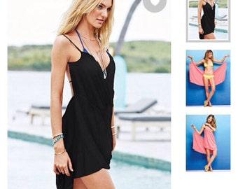 Black wrap bathing suit cover up