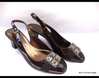 Etienne Aigner shoes, sling back, heels, brown patent leather, rhinestone shoe clips,  pumps, size 7 1/2 M usa,  5 UK,  38 EU