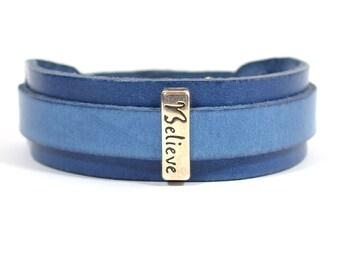 "20mm Blueberry European Leather Adjustable Cuff Bracelet with ""Believe"" Slider (20-015)"
