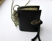 book necklace, miniature book jewellery, leather journal