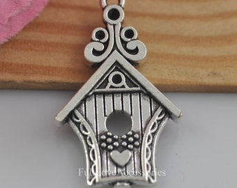 10pcs Bird Cage Charms, 19x31mm Antique Silver House Charms Pendant, Silver Bird Nest Charms Pendant