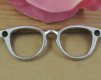 10pcs Glasses Charms, Antique Silver Eye Glasses Charm Pendant,Sunglasses charms connector, Glasses Charm Connector 20x56mm