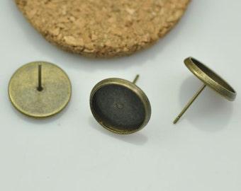10pcs Fit 14mm Antique Brass Earring Setting - Antique Bronze Blank Bezel Cabochon Setting, Base Setting
