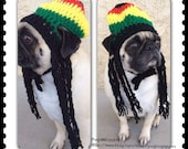 Rasta Hat-Hats for Dogs-Rasta Hat For Dogs-Pugs-Novelty Dog Hats-Silly Dog Hats-Crochet Dog Hats-jamaican dog hat-dreads-pugs-pugs in hats-