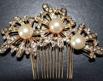 Golden Haircomb with Crystals and Pearls (HLDtiara-216)