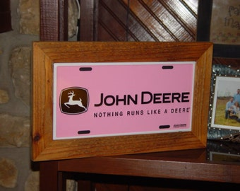 Pink John Deere License Plate Frame cedar 6x12 rare metal display sign